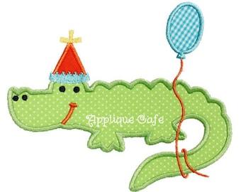 413 Birthday Alligator Machine Embroidery Applique Design