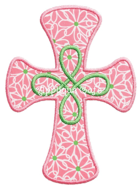 Loopy cross machine embroidery applique design