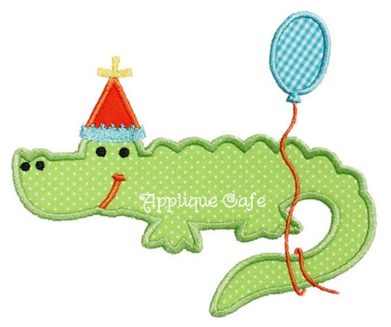 Birthday alligator machine embroidery applique design
