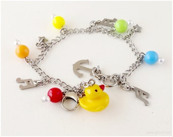 Rubber Duckie Charm Bracelet, Primary Colors, Stainless Steel, Kawaii, Childrens Jewelry