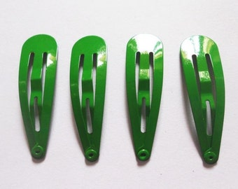 24 Pcs - 40 mm Girl Hair Snap Clips findings Green Color