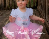 Girls 1st Birthday Outfit-  Pretty in Pink Ribbon Trim Tutu Birthday Outfit -with any number and name