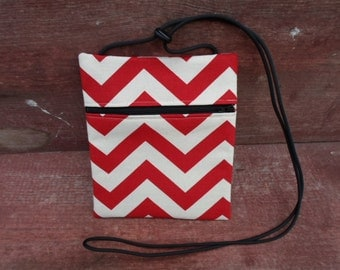 Red Chevron Cross Body Pouch