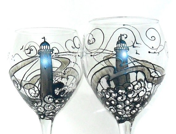Lighthouse Wine Glass Hand Painted Glassware Wine Goblet