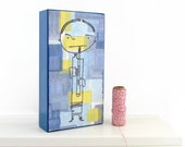 Clarinet Player - Music Mixed Media Wall Art Panel - Woodwind instrument Art - Children Room Decoration - Graduation Gift
