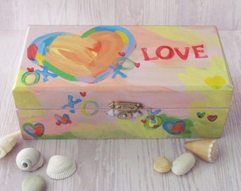Heart themed Jewelry Box - Hand Painted LOVE Keepsake Box
