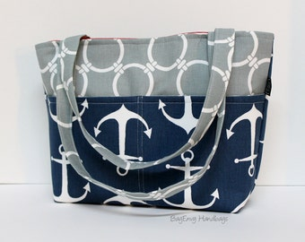 Anchors Away Diaper Tote in Navy and Grey / Toddler Bag - Small Diaper Bag