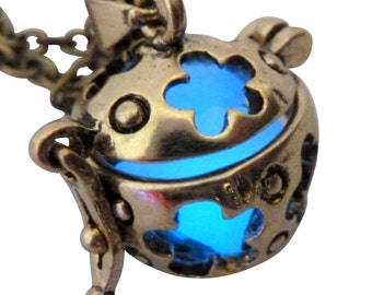 Wishing ball Fairy Magical Fairy Glow in the Dark Necklace-Blue-bronze Steampunk Victorian