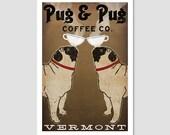 FREE CUSTOM Personalization -- Pug & Pug Coffee Co. ILLUSTRATION Giclee Print signed