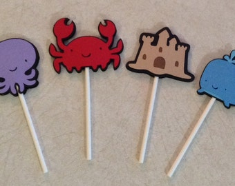 Beach party cupcake toppers - Under the Sea birthday supplies, party decorations