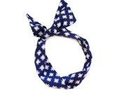 Hashtag Wire Headband - Navy and White Print Fabric Scarf Bandana Turban Wrap - Handmade in California by Mane Message on Etsy