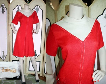 1960's Red and White Color Block MOD Scooter Dress by GlenBrooke.