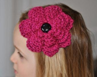 Hand made crocheted Big Flower Barrette - 1 Barrette