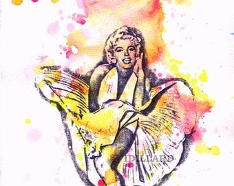 Pintura del retrato de Marilyn Monroe Pop impresión del arte del cartel de película Original de acuarela Pop Art
