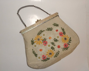 Vintage 1970's  Lee Wards? Floral Daisy Hand Bag Purse Wool Crewel Embroidery - Made from Kit