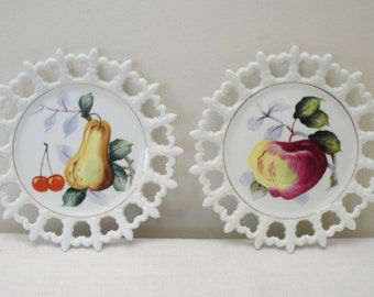 Vintage Hand Painted Pair of Lefton Milk Glass Fruit Plates
