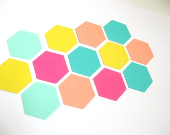 Coral/Pink/Yellow/Mint/Aqua Confetti - 100 pieces - Hexagon/Honeycomb - Parties/Showers/Weddings/Event Decor/Celebration/Paper Party Supply