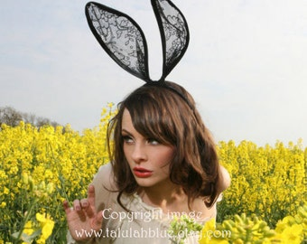 Lace bunny ears Headband - Black lace bunny ears headband - Talulahblue.