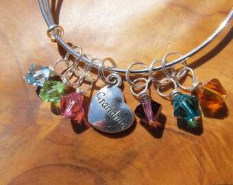 GRANDMA - Adjustable Bangle Bracelet -  Personalize -Choose the birthstones for Grandma