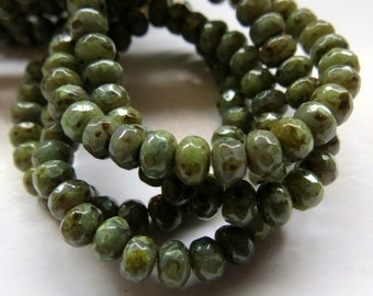 NEW Mossy Quartz  . Czech Picasso Glass Rondelle Beads .  (30 beads) 3 by 5 mm