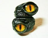 Evil eye adjustable black leather ring.  Dragon eye leather ring.  Halloween leather ring. LARP. Leather ring. Double ring.