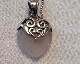 Pink Quartz Stone Heart Necklace Sterling Silver