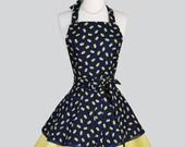 Ruffled Retro Apron - Woman Apron Navy and Yellow Bandanna Cute Full KitchenRuffled Apron Personalize or Monogram