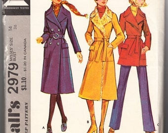 Vintage 1971 McCall's 2979 Sewing Pattern Misses Coat in Three Lengths Size 14 Bust 36