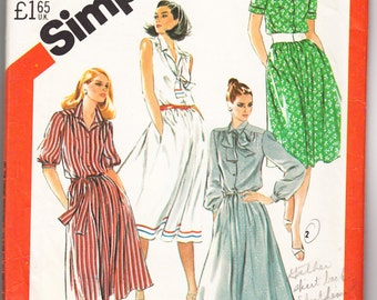 Classic 1982 Simplicity 5530 Sewing Pattern Misses's Pullover Shirtdress with Sleeve Variations and Tie Size 10 Bust 32-1/2