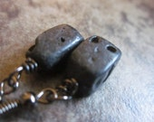 Black Tektite Earrings, Gunmetal, Minimalist, Meteorite Impact Stone, Lower Chakras, Canadian Shop