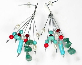 Turquoise Cluster Earrings, Turquoise Designer Earrings, Silversmith Turquoise Earrings, Statement Earrings