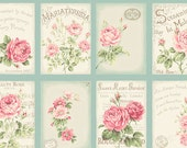 RURU Bouquet Rose For You  Cotton Fabric Quilt Gate RU2220-11C Vintage Postcards on Aqua