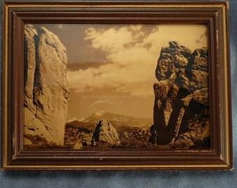 Antique Orotone Photograph Goldtone Picture Pike's Peak
