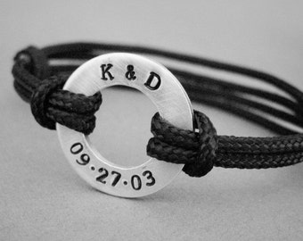 Custom Date and Initial Bracelet, Medium Size Disc Stamped with your date & Initials,adjustable cord, Men's, Women's, Anniversary, wedding