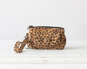 Leather phone wallet in leopard print suede leather, womens wristlet phone wallet with strap zipper-Thalia Wallet