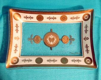 MidMid-Century Modern Vintage 60s Georges Briard Glass BUTTERFLY Rectangular Dish