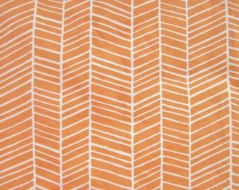 Orange and White Herringbone Changing Pad Cover, Orange and White Baby Changing Pad Cover, Joel Dewberry Herringbone in Carrot