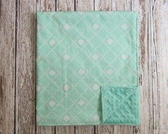 Mint Green Baby Blanket, Minky Baby Blanket, Mint Green Geometric Baby Blanket