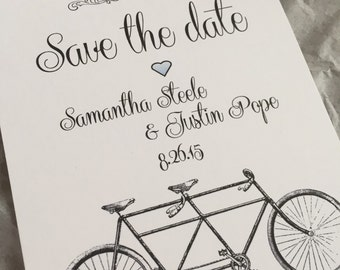Bicycle buit for two save the date invitations