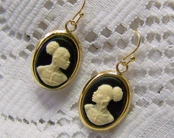 African Lady Cameo Earrings, Gold Plated French Style Earrings, New Afrikan Woman, Afro-American, Africa, Cream on Black, African American