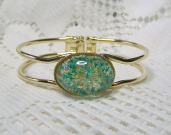 Real Flower Jewelry, Adjustable Cuff bracelet with Teal Blue flowers, Pressed Flower Cuff Bracelet, Bright Gold, Teal & White Flowers