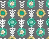 SALE - Camelot Fabrics - Botanical Collection - Floral Row in Iron - By the Yard