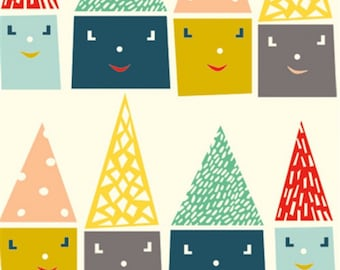 SALE - Birch Fabrics - Happy Town Collection - Happy Houses in Multi Organic