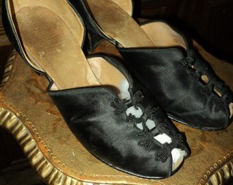 "Vintage Daniel Green Slipper ""Comfy"" line ca 1940 Black Silk Collectible Display Museum Deacession"