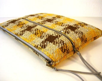 Oatmeal and Orange Vintage Plaid Large Zipper Clutch