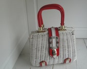 Vintage Wicker Purse Red Gold White