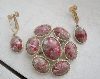 Vintage Pin and Earring Set Gold Burgundy