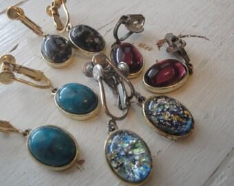 Vintage Dangle Earrings Oval Screw back 4 Pairs