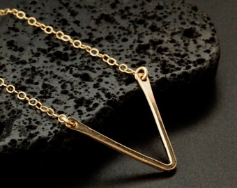 1 Acute Angle Necklace - Yellow, Rose Gold 14kt Gold Fill, Antique Sterling Silver - Hand Forged