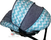 Baby Car Seat Cover Aqua Chevron with Charcoal